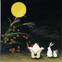 The pattern of the moon viewing rabbit